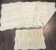 ROMANY WASHABLE TRAVELLERS MATS 4PC SET NON SLIP REGULAR SIZE LIGHT BEIGE RUGS